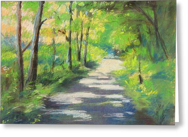 New England. Pastels Greeting Cards - summer woods at Kenoza Lake Greeting Card by Leslie Alfred McGrath