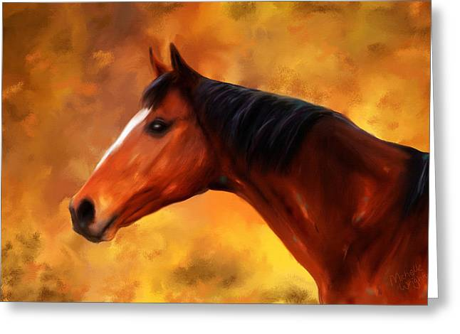 Michelle Wrighton Greeting Cards - Summers End Quarter Horse Painting Greeting Card by Michelle Wrighton