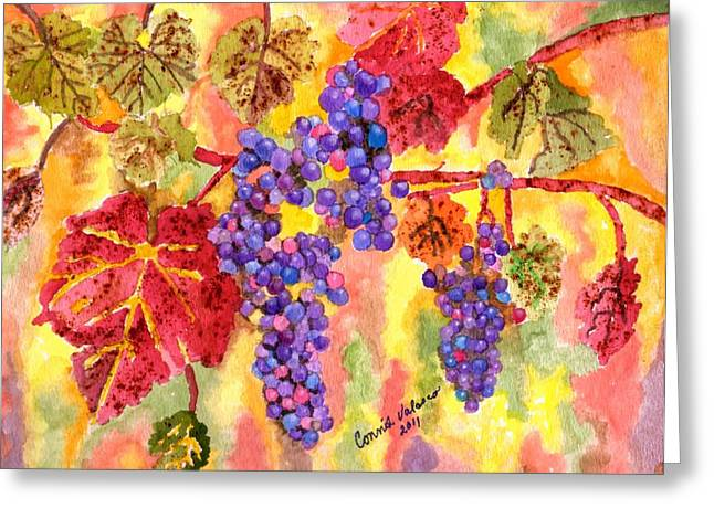 Purple Grapes Greeting Cards - Summers Fullest Greeting Card by Connie Valasco
