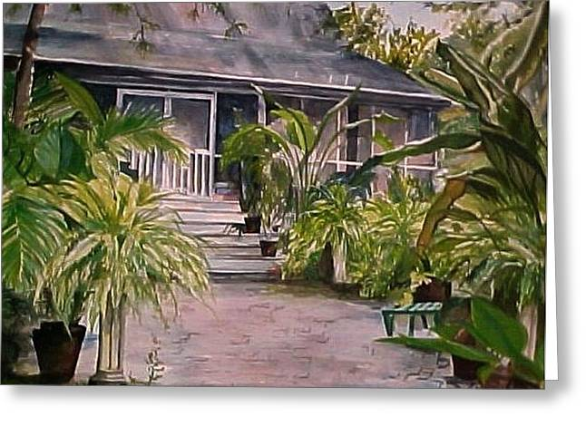 Screened Porchs Paintings Greeting Cards - Summers Patio Greeting Card by Cyndi Brewer