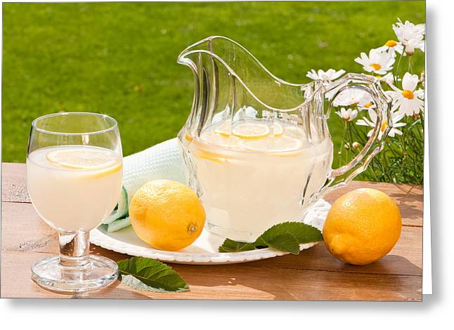 Al Fresco Greeting Cards - Summertime Lemonade Greeting Card by Amanda And Christopher Elwell