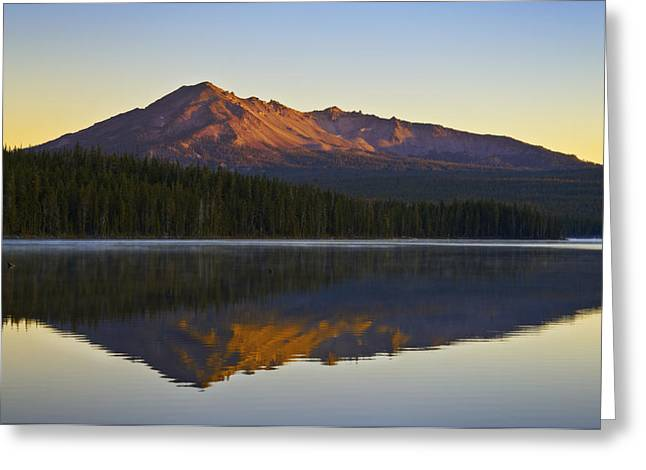 Mountain Reflection Lake Summit Mirror Greeting Cards - Summit Lake and Diamond Peak Greeting Card by Greg Vaughn - Printscapes