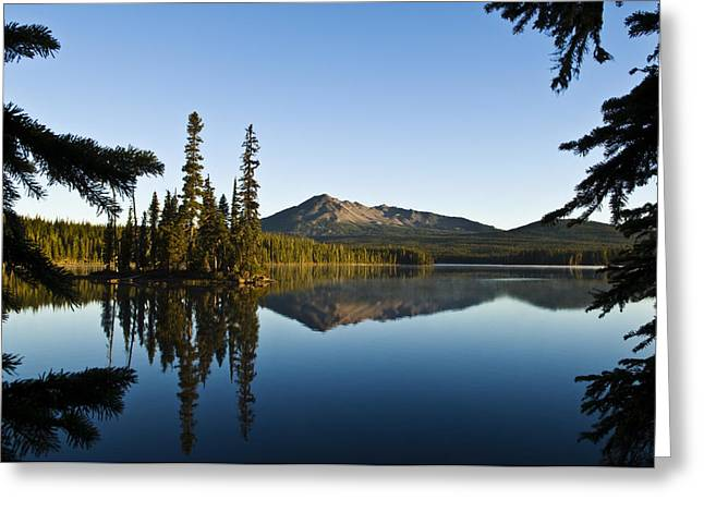 Mountain Reflection Lake Summit Mirror Greeting Cards - Summit Lake Greeting Card by Greg Vaughn - Printscapes