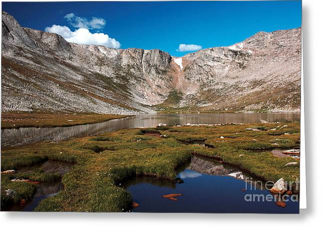 Rocky In Spring Greeting Cards - Summit Lake on Mount Evans Greeting Card by David Bearden