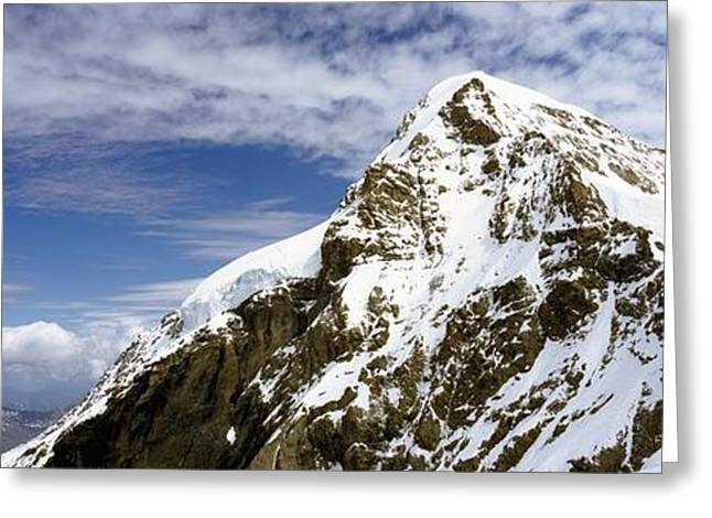 Snowy Day Greeting Cards - Summit Of Monch Mountain In Bernese Alps Greeting Card by Axiom Photographic
