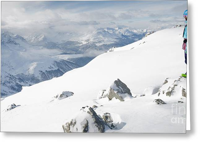 Summit Snowboarder Planning The Descent From Weissfluhgipfel Davos  Greeting Card by Andy Smy
