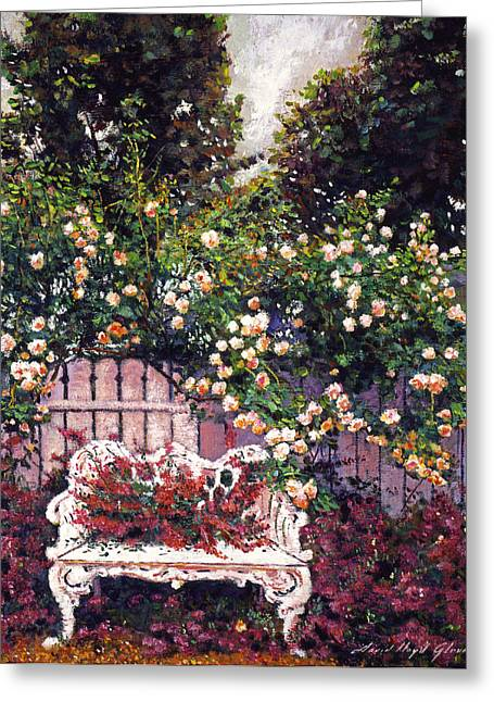 Patio Greeting Cards - Sumptous Cascading Roses Greeting Card by David Lloyd Glover