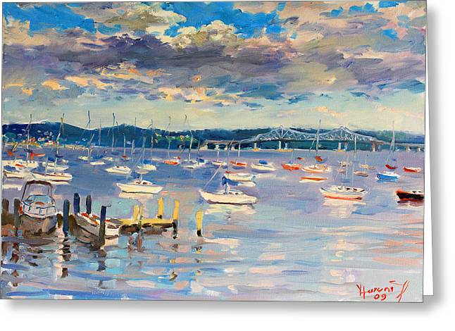 River Boat Greeting Cards - Sun and Clouds in Hudson Greeting Card by Ylli Haruni