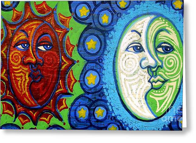 Wood. Commissions Greeting Cards - Sun and Moon Greeting Card by Genevieve Esson