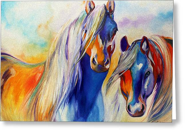 Original Oil Paintings Greeting Cards - SUN and SHADOW EQUINE ABSTRACT Greeting Card by Marcia Baldwin