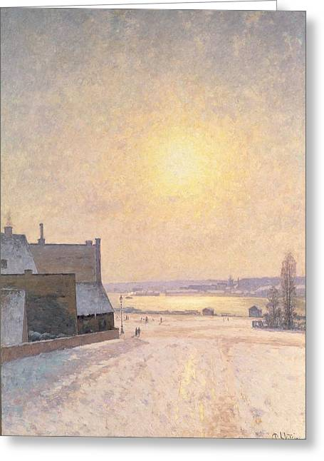 Snow Scene Landscape Paintings Greeting Cards - Sun and Snow Greeting Card by Per Ekstrom
