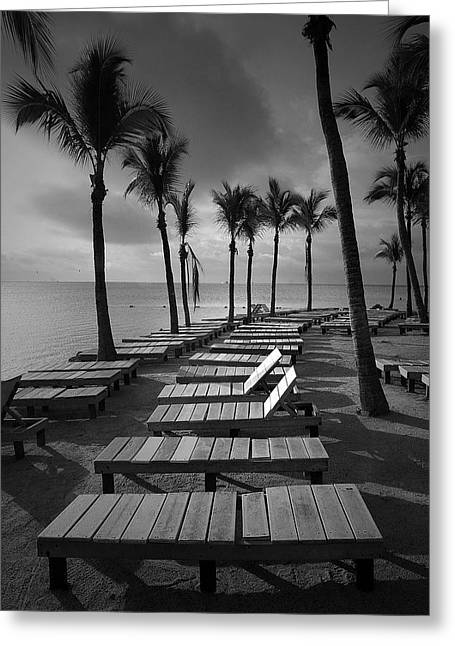 Oceanic Landscape Greeting Cards - Sun Bathing Benches at a Resort on Key Islamorada Greeting Card by Randall Nyhof