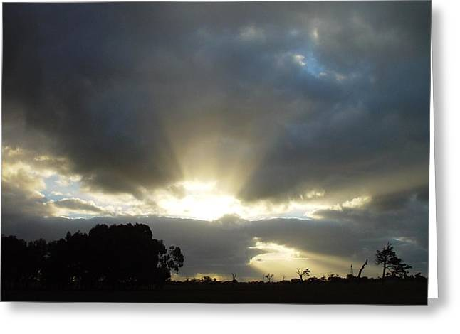 Sun Breakthrough Greeting Cards - Sun Beams Greeting Card by Paul Van Scott