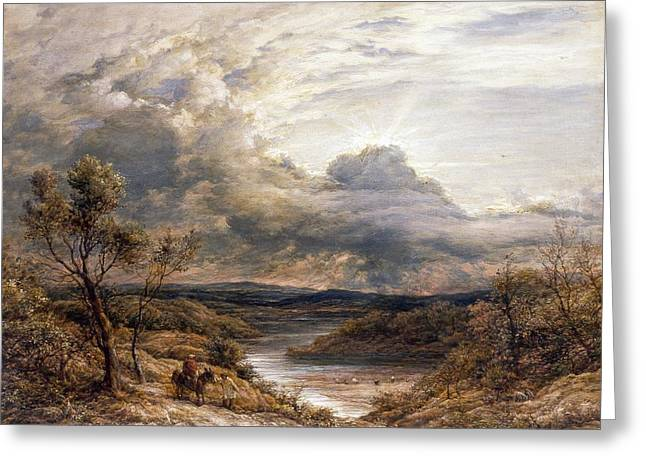 Sun behind Clouds Greeting Card by John Linnell