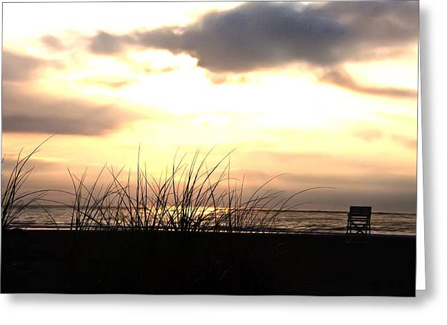On The Beach Digital Greeting Cards - Sun Behind the Clouds on the Beach Greeting Card by Bill Cannon