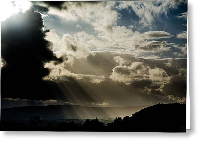 Lightscapes Greeting Cards - Sun Breaks through the Clouds Greeting Card by Hakon Soreide
