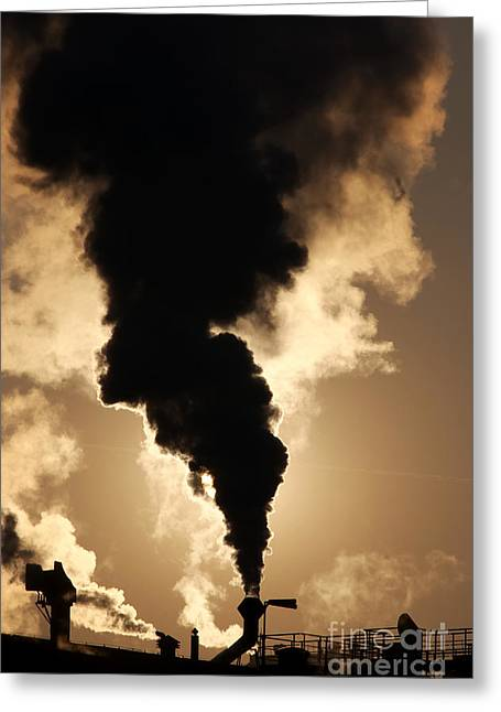 Heavy Industry Greeting Cards - Sun Covered With Soot Greeting Card by Michal Boubin