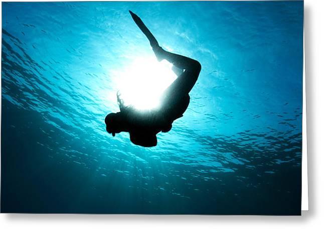 Sun Diver Greeting Card by Rico Besserdich