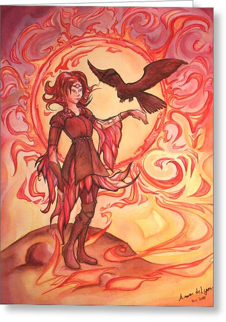Half Elf Greeting Cards - Sun Elf Greeting Card by Arwen De Lyon