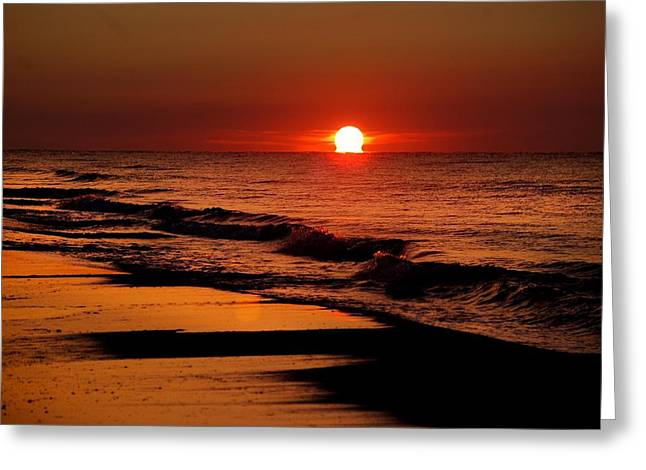 Crimson Tide Digital Art Greeting Cards - Sun emerging from the water Greeting Card by Michael Thomas