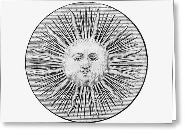 1751 Greeting Cards - Sun Face, Decorative, 1751 Greeting Card by Granger
