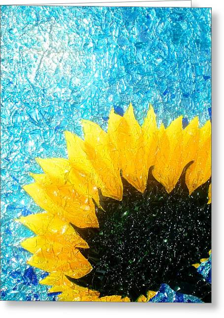 Wow Mixed Media Greeting Cards - Sun Flower Greeting Card by Desiree Soule