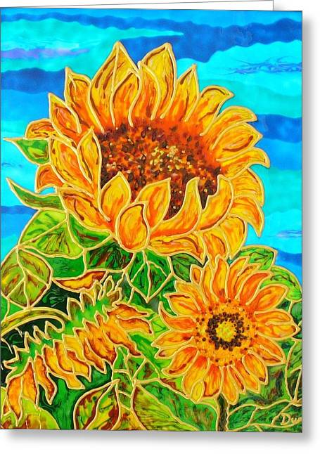 Landscape Glass Greeting Cards - Sun Flower1 Greeting Card by Danuta Duminica