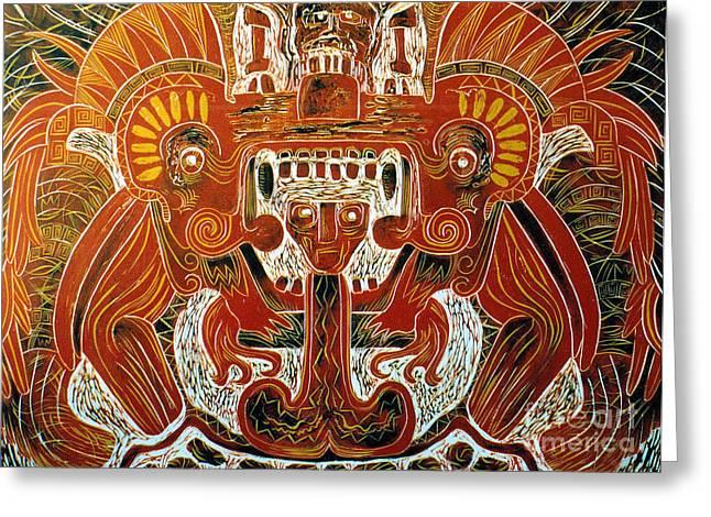 Linocut Greeting Cards - Sun God    1 of 6 Greeting Card by Pamela Iris Harden