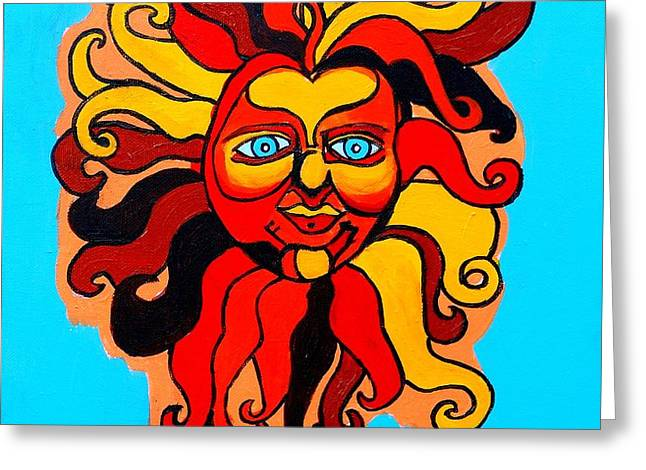 Sun God II Greeting Card by Genevieve Esson