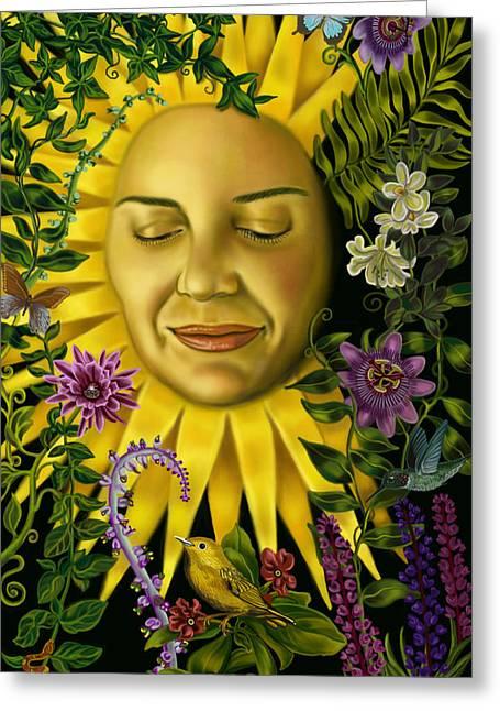 Goddess Art Greeting Cards - Sun Goddess Greeting Card by Pamela Wells
