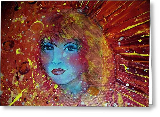Merged Mixed Media Greeting Cards - Sun Goddess Greeting Card by Robin Monroe