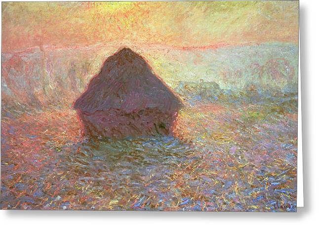 1891 Greeting Cards - Sun in the Mist Greeting Card by Claude Monet