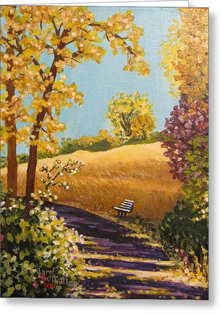 Fall Colors Pastels Greeting Cards - Sun-Kissed Trail Greeting Card by Carol OMalley
