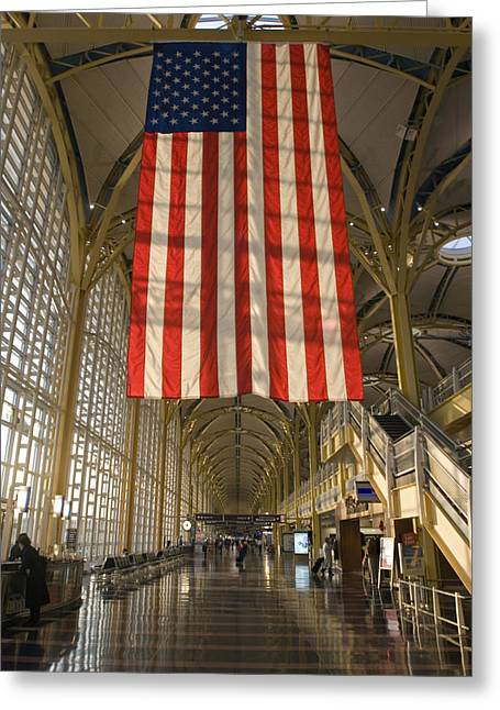 Airport Terminal Greeting Cards - Sun Lighting Up An American Flag Greeting Card by Rich Reid