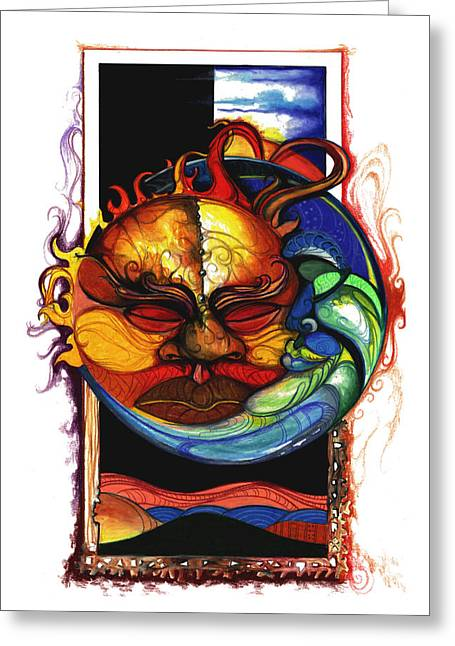 African American Drawings Greeting Cards - Sun Moon Greeting Card by Anthony Burks Sr