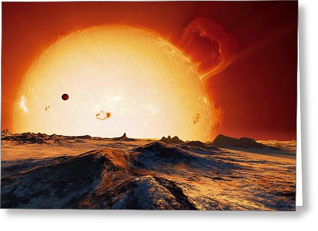 Life On Earth Greeting Cards - Sun Over Dying Earth, Artwork Greeting Card by Detlev Van Ravenswaay