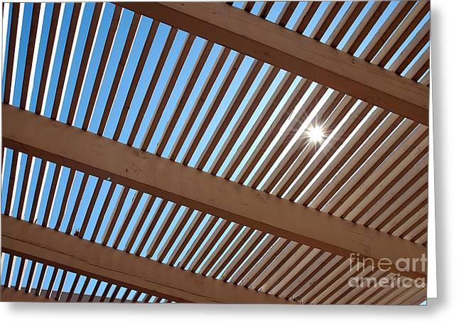 Sun Porches Greeting Cards - Sun peeking through wood slats Greeting Card by Micah May