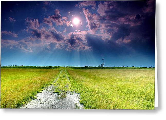 Backroads Greeting Cards - Sun Rays Greeting Card by Cale Best