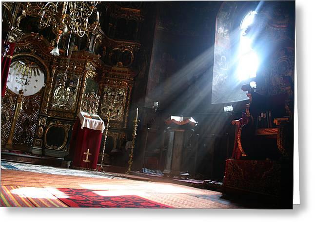 Sun Rays In Orthodox Church Greeting Card by Emanuel Tanjala