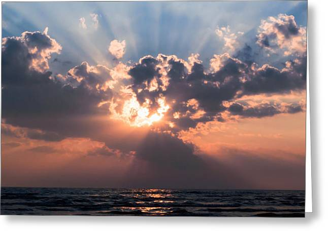 York Beach Greeting Cards - Sun Rays Greeting Card by Peter Chilelli