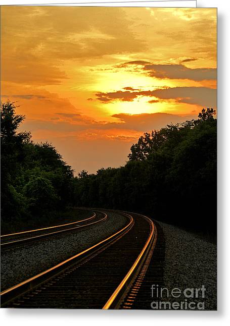 Railroad Tie Greeting Cards - Sun Reflecting on Tracks Greeting Card by Benanne Stiens