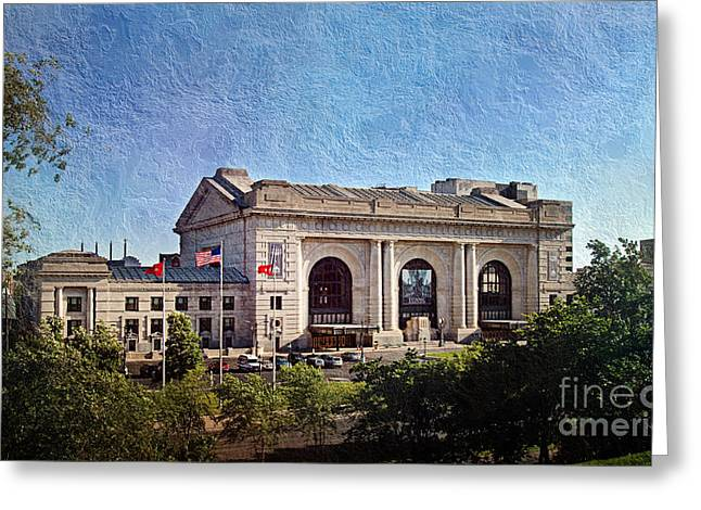 Historic Architecture Mixed Media Greeting Cards - Sun Rising On Union Station In Kansas City TV Greeting Card by Andee Design