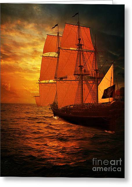 Sea Pyrography Greeting Cards - Sun Set and Ship Greeting Card by Eugene James