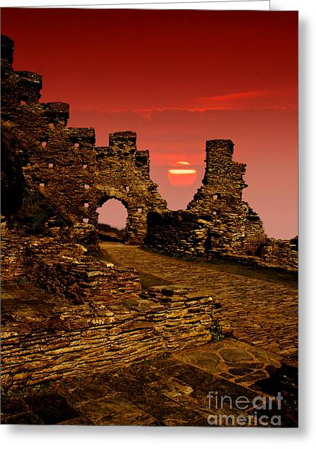 Castle. Birds Greeting Cards - Sun Set Castle Greeting Card by Nigel Hatton