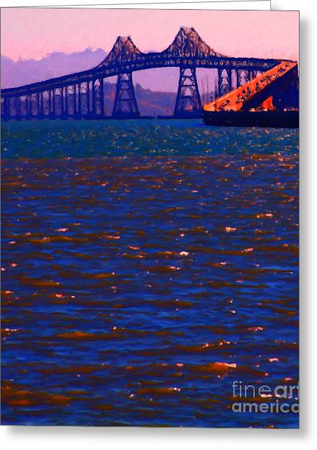Larkspur Greeting Cards - Sun Setting Beyond The Richmond-San Rafael Bridge - California - 5D18435 Greeting Card by Wingsdomain Art and Photography