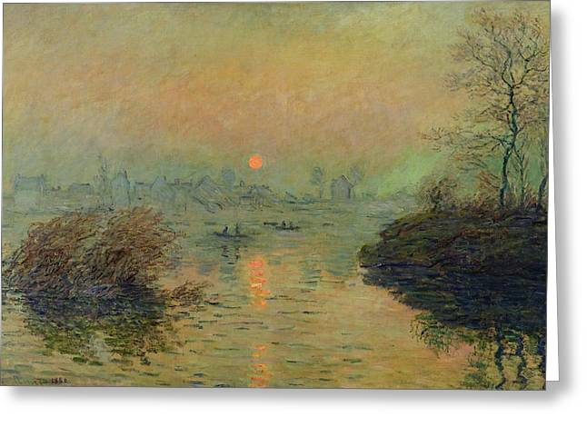 Sundown Paintings Greeting Cards - Sun Setting over the Seine at Lavacourt Greeting Card by Claude Monet