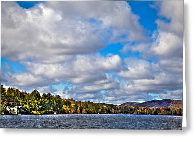 Fir Trees Greeting Cards - Sun Shinning over Fourth Lake Greeting Card by David Patterson