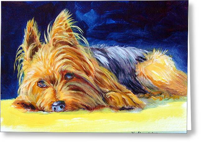 Sun Spot Yorkshire Terrier Greeting Card by Lyn Cook