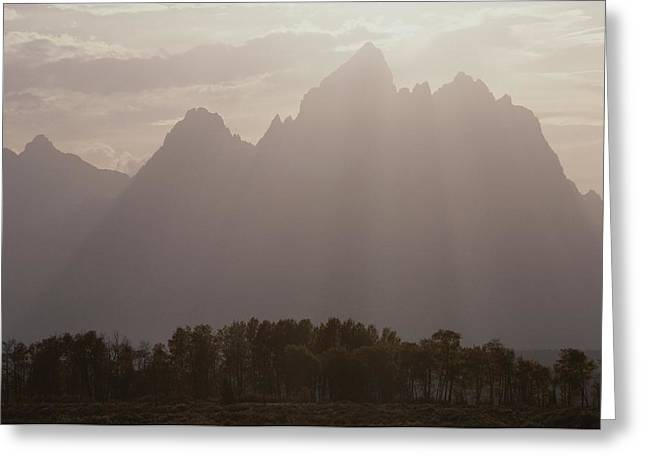 Reverence Greeting Cards - Sun Streams Over The Grand Teton, Grand Greeting Card by Raymond Gehman