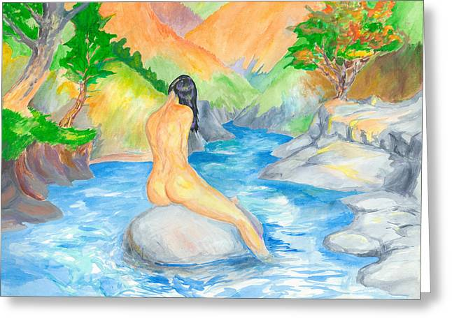 Native American Nude Woman Greeting Cards - Sunbather Greeting Card by Adam  Robertson